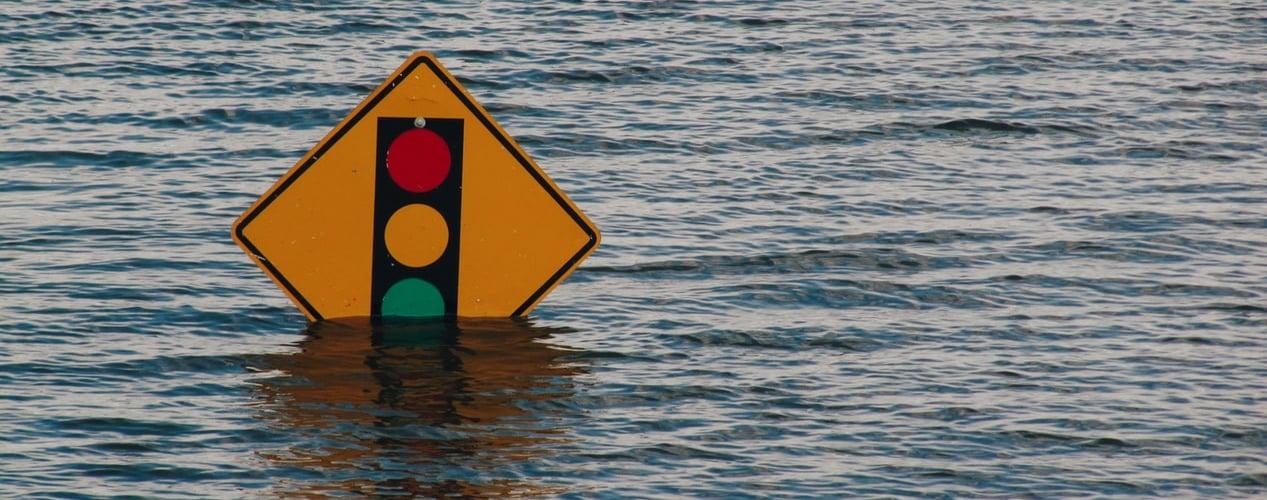 traffic sign under water